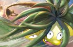 alolan_exeggutor alolan_form anesaki_dynamic black_eyes claws creature fangs gen_7_pokemon grass jumping motion_lines no_humans official_art outdoors pokemon pokemon_(creature) pokemon_trading_card_game sky solo third-party_source