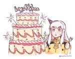 1girl cake character_name fire_emblem fire_emblem:_three_houses food fork garreg_mach_monastery_uniform graysheartart hat holding holding_fork long_hair long_sleeves lysithea_von_ordelia open_mouth party_hat pink_eyes simple_background solo twitter_username uniform upper_body white_background white_hair