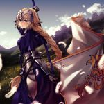 1girl applekun armor armored_dress banner blonde_hair blue_dress blue_eyes blue_sky blurry blurry_background braided_ponytail clouds day dress dutch_angle fate/apocrypha fate_(series) faulds floating_hair from_side gauntlets grass hair_between_eyes headpiece holding jeanne_d'arc_(fate) jeanne_d'arc_(fate)_(all) long_hair looking_at_viewer outdoors sheath sheathed sky solo sword very_long_hair weapon