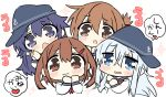 4girls akatsuki_(kantai_collection) anchor_symbol black_hair black_sailor_collar blue_eyes blue_headwear brown_eyes brown_hair chibi commentary_request flat_cap folded_ponytail hair_ornament hairclip hat hibiki_(kantai_collection) highres hizuki_yayoi ikazuchi_(kantai_collection) inazuma_(kantai_collection) kantai_collection long_hair looking_at_viewer multiple_girls neckerchief red_neckwear sailor_collar school_uniform serafuku short_ponytail silver_hair simple_background sparkle upper_body violet_eyes watery_eyes white_background