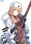 1girl ammunition_pouch belt blonde_hair blue_eyes bolt_action brown_sweater bullet closed_mouth coat commentary echj english_text fur-trimmed_coat fur_hat fur_trim girls_frontline gloves gun hat highres jacket long_hair mosin-nagant mosin-nagant_(girls_frontline) necktie pouch red_star ribbed_sweater rifle scope sniper_rifle snow snowing solo sweater ushanka weapon white_headwear white_jacket