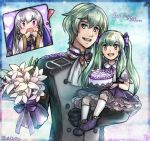 ! 1boy 2girls :d :o artist_name blush bouquet byleth_(fire_emblem) byleth_(fire_emblem)_(male) cake dated dress english_commentary father_and_daughter fire_emblem fire_emblem:_three_houses flower food frilled_dress frills green_eyes green_hair hair_ribbon happy_birthday holding_person if_they_mated kari_avalon long_hair lysithea_von_ordelia mother_and_daughter multiple_girls open_mouth purple_dress ribbon sidelocks silver_hair smile twintails violet_eyes