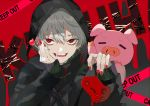 1boy :d absurdres background_text bangs between_fingers black_jacket black_sweater candy caution_tape character_name commentary_request controller ear_piercing earrings eyebrows_behind_hair fangs food game_controller grey_hair hair_between_eyes hands_up highres holding holding_food holding_lollipop hood hood_up hooded_jacket huge_filesize jacket jewelry kayanogura keep_out kuzuha_(nijisanji) lollipop long_sleeves looking_at_viewer male_focus nail_polish nijisanji open_clothes open_jacket open_mouth piercing red_eyes red_nails sharp_teeth sleeves_past_wrists smile solo sweater teeth upper_body virtual_youtuber