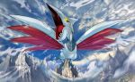 anesaki_dynamic bird bird_focus creature flying gen_2_pokemon looking_at_viewer no_humans official_art pokemon pokemon_(creature) pokemon_trading_card_game skarmory solo third-party_source yellow_eyes