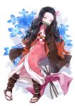 1girl asa_no_ha_(pattern) bamboo bit_gag black_footwear black_hair black_haori checkered checkered_obi floral_background flower forehead gag hair_ribbon head_tilt hydrangea invisible_chair japanese_clothes kamado_nezuko kimetsu_no_yaiba kimono leg_warmers light_particles long_hair long_sleeves looking_at_viewer mouth_hold multicolored_hair myaco9 obi pink_eyes pink_kimono pink_ribbon redhead ribbon sandals sash sitting solo tabi two-tone_hair very_long_hair white_background white_legwear wide_sleeves