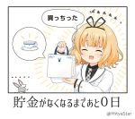 ... 1girl :d ^_^ animal bag bangs black_ribbon black_shirt blazer blonde_hair blush chibi closed_eyes collared_shirt commentary_request cup eyebrows_visible_through_hair facing_viewer gochuumon_wa_usagi_desu_ka? hair_ribbon hands_up holding holding_bag jacket kirima_sharo long_sleeves miicha necktie open_mouth paper_bag plaid_neckwear rabbit ribbon saucer shirt smile spoken_object teacup translation_request twitter_username white_jacket wild_geese