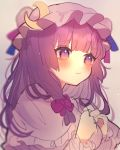 1girl bangs blunt_bangs blush bow chikuwa_(tikuwaumai_) closed_mouth commentary_request crescent eyebrows_visible_through_hair hair_bow hat highres long_hair looking_away patchouli_knowledge purple_bow purple_hair sketch solo touhou upper_body violet_eyes