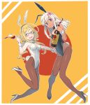 2girls alcohol alternate_costume animal_ears aqua_eyes bangs black_leotard blonde_hair blue_eyes blush bow bowtie breasts brown_legwear bunny_girl bunny_tail bunnysuit commentary_request covered_navel cup detached_collar drinking_glass eyebrows_visible_through_hair fake_animal_ears fake_tail flower full_body gahaku glasses hair_flower hair_ornament high_heels i-8_(kantai_collection) kantai_collection legs leotard long_hair looking_at_viewer low_twintails medium_breasts multiple_girls one-piece_tan open_mouth pantyhose rabbit_ears red-framed_eyewear ro-500_(kantai_collection) semi-rimless_eyewear simple_background small_breasts smile strapless strapless_leotard tail tan tanline twintails under-rim_eyewear white_hair wine wine_glass wrist_cuffs
