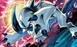 absol claws creature dutch_angle full_body full_moon gen_3_pokemon jumping looking_at_viewer moon nagimiso no_humans official_art outdoors pokemon pokemon_(creature) pokemon_trading_card_game red_eyes sky solo third-party_source