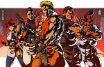 1girl 4boys belt black_belt blonde_hair brown_hair dark_skin dark_skinned_male dougi fingerless_gloves gloves looking_at_viewer marco_rodriguez mark_of_the_wolves multiple_boys pompadour ponytail robert_garcia ryou_sakazaki ryuuko_no_ken takuma_sakazaki the_king_of_fighters yuri_sakazaki zehb_br