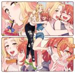 2girls :d ^_^ ^o^ bare_shoulders blonde_hair blush breasts churro closed_eyes drinking eating fate/grand_order fate_(series) food fujimaru_ritsuka_(female) green_eyes grin high_heels highres long_hair midriff multiple_girls navel one_eye_closed open_mouth orange_hair piercing pretzel quetzalcoatl_(fate/grand_order) shoes sleeveless smile sneakers teeth turtleneck yellow_eyes yukataro