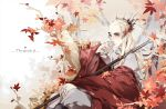 1boy artist_request autumn autumn_leaves blonde_hair character_name closed_mouth collar elf grey_pants hand_on_own_face hand_on_own_knee jewelry leaf long_hair long_sleeves looking_at_viewer lord_of_the_rings male_focus maple_leaf pants pointy_ears ring sitting solo staff thranduil tiara