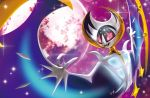 5ban_graphics :d creature fangs flying full_moon gen_7_pokemon legendary_pokemon looking_down lunala moon no_humans official_art open_mouth pink_eyes pokemon pokemon_(creature) pokemon_trading_card_game sky smile solo third-party_source tsurime upper_body