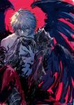 1boy deineisan fallen_angel granblue_fantasy lucilius_(granblue_fantasy) violet_eyes white_hair wings