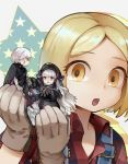3girls bandaged_arm bandages blonde_hair cape cupping_hands dress fate/apocrypha fate/grand_order fate_(series) frilled_dress frills giantess gloves green_eyes guttia hat holding_person jack_the_ripper_(fate/apocrypha) long_hair multiple_girls nursery_rhyme_(fate/extra) overalls paul_bunyan_(fate/grand_order) silver_hair white_hair yellow_eyes