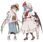 2girls absurdres alternate_costume baggy_clothes baggy_shorts bandana bat_wings belt black_legwear blonde_hair blue_hair bow brooch casual commentary_request contemporary flandre_scarlet gangster hat hat_bow highres jewelry mefomefo mob_cap multiple_girls pink_skirt pointing puffy_sleeves red_eyes red_footwear remilia_scarlet shirt shoe_bow shoes shorts side_ponytail skirt slit_pupils smile sneakers t-shirt touhou umbrella white_background white_footwear white_legwear wings