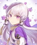 1girl closed_mouth fire_emblem fire_emblem:_three_houses flower from_side hair_ornament haru_(nakajou-28) highres long_hair looking_to_the_side lysithea_von_ordelia petals pink_eyes smile solo white_hair