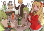 ... 3boys 3girls alternate_costume black_hair blonde_hair bottle braid brown_coat brown_hair cape casual closed_eyes coat commentary crown_braid cup eating enkidu_(fate/strange_fake) ereshkigal_(fate/grand_order) fate/grand_order fate_(series) food gilgamesh gilgamesh_(caster)_(fate) green_cape green_eyes green_sweater grin hair_bun ishtar_(fate)_(all) ishtar_(fate/grand_order) kingu_(fate) long_hair looking_at_viewer multiple_boys multiple_girls plaid plaid_scarf plaid_skirt pleated_skirt red_coat red_eyes ribbed_sweater scarf skewer skirt smile soda_bottle spoken_ellipsis sweater translation_request two_side_up v veil violet_eyes yoyo_9ea