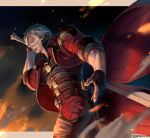 1boy arm_up artist_name belt black_gloves closed_mouth coat dante_(devil_may_cry) devil_may_cry_5 fingerless_gloves fire floating_clothes gloves gun high_collar highres holding holding_sword holding_weapon holster long_sleeves looking_to_the_side male_focus pants red_coat short_hair silver_hair sleeves_rolled_up solo sword walking weapon whoareuu zipper