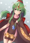 +5cm 1girl absurdres cloak closed_mouth dress fire_emblem fire_emblem:_mystery_of_the_emblem green_eyes green_hair highres jewelry long_hair necklace pink_dress pointy_ears ponytail short_dress simple_background smile solo stone tiara tiki_(fire_emblem)