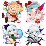 4girls ;) ;d apron arm_up ascot bangs bat_wings black_hairband blonde_hair bloomers blue_bow blue_eyes blue_hair blue_neckwear blue_ribbon blue_skirt blush boots bow bowtie brown_footwear chibi commentary_request crystal dress eyebrows_visible_through_hair fang flandre_scarlet frilled_apron frills gloves gotoh510 green_skirt green_vest grey_legwear hair_ribbon hairband hat hat_bow hitodama holding holding_sword holding_weapon katana knees_up knife konpaku_youmu konpaku_youmu_(ghost) laevatein looking_at_viewer maid maid_apron maid_headdress mary_janes miniskirt mob_cap multiple_girls nail_polish one_eye_closed open_mouth pantyhose petals petticoat pink_dress pink_headwear pleated_skirt pointy_ears polearm red_bow red_dress red_eyes red_footwear red_nails remilia_scarlet ribbon scabbard sheath sheathed shoes short_dress short_hair siblings sidelocks silver_hair simple_background sisters skirt skirt_set smile socks spear spear_the_gungnir sword touhou underwear v-shaped_eyebrows vest waist_apron weapon white_apron white_background white_bloomers white_gloves white_headwear white_legwear wings wrist_ribbon yellow_neckwear