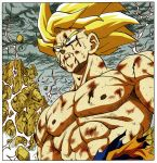 1boy abs arms_at_sides blonde_hair blood blood_from_mouth blood_on_face blue_eyes border close-up closed_mouth clouds cloudy_sky dark_sky destruction dirty dirty_clothes dirty_face dragon_ball dragon_ball_z dust dutch_angle electricity floating_hair frown highres looking_away male_focus mountain muscle nipples official_art outdoors pectorals rock scratches serious shirt sky son_gokuu spiky_hair super_saiyan sweatdrop toriyama_akira torn_clothes torn_shirt upper_body white_border