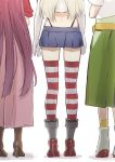 3girls black_panties blonde_hair boots brown_footwear commentary_request crop_top elbow_gloves from_behind gloves gradient_hair green_hakama grey_footwear hakama hakama_skirt head_out_of_frame highleg highleg_panties japanese_clothes kamikaze_(kantai_collection) kantai_collection kimono legs long_hair meiji_schoolgirl_uniform microskirt miniskirt multicolored_hair multiple_girls panties pink_hakama purple_hair red_kimono rudder_footwear shimakaze_(kantai_collection) shin'you_(kantai_collection) simple_background skirt striped striped_legwear thigh-highs underwear white_background white_gloves yamashiki_(orca_buteo)