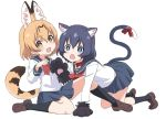 2girls :3 alternate_costume animal_ears black_hair black_legwear blonde_hair blue_eyes bow bowtie cat_ears cat_tail coat crawling extra_ears eyebrows_visible_through_hair fang gloves ilyfon133 kaban_(kemono_friends) kemono_friends kemonomimi_mode loafers multicolored_hair multiple_girls navy_blue_skirt no_hat no_headwear open_mouth paw_gloves paw_pose paws pleated_skirt red_bow red_coat red_neckwear school_uniform serafuku serval_(kemono_friends) serval_ears serval_tail shirt shoes short_hair short_sleeves sitting skirt socks tail tail_bow white_shirt yellow_eyes