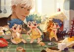 4boys animal_ears archer barefoot bear_ears blinds blue_hair brown_eyes candle caveman cereal chest_tattoo chibi club cracker cu_chulainn_(fate)_(all) cu_chulainn_(fate/grand_order) cu_chulainn_alter_(fate/grand_order) cuffs dark_skin dark_skinned_male earrings eating facial_mark fang fate/grand_order fate/stay_night fate_(series) faucet food fried_egg fruit gae_bolg guttia indoors jar jewelry kemonomimi_mode kitchen lancer long_hair male_focus milk_carton miniboy mochitsuki mortar multiple_boys multiple_persona nipples on_table open_mouth planted_weapon polearm ponytail red_eyes size_difference spatula spear spoon standing strawberry table tablecloth tattoo toga usagi_kine weapon white_hair window