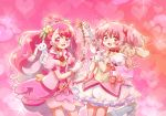 2girls :3 :d bow bow_(weapon) bubble_skirt choker color_connection crossover cure_grace earrings flower gloves hair_bun hair_color_connection hair_flower hair_ornament hair_ribbon hanadera_nodoka healin'_good_precure heart heart_hair_ornament jewelry kaname_madoka kneehighs kyubey long_hair looking_at_viewer magical_girl mahou_shoujo_madoka_magica multiple_girls open_mouth pink_eyes pink_hair pink_neckwear power_connection precure puffy_sleeves ribbon seiyuu_connection short_twintails skirt smile sushineta trait_connection twintails weapon white_gloves white_legwear yuuki_aoi