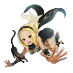 1girl animal ass bare_shoulders blonde_hair breasts cat dark_skin dress dusty_(gravity_daze) gravity_daze hairband high_heels kitten_(gravity_daze) leotard long_hair looking_at_viewer open_mouth red_eyes scarf simple_background smile strapless vambraces white_background