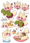 6+girls :o animal_ear_fluff animal_ears animalization bangs blonde_hair blush brown_footwear cheese chibi closed_mouth commentary concrete corndog eyebrows_visible_through_hair fish food fox_ears fox_girl fox_tail green_shirt grey_hair hair_between_eyes hair_bun hair_ornament highres hiss kemomimi-chan_(naga_u) kneeling long_sleeves minigirl mouse_ears mouse_girl mouse_tail multiple_girls naga_u nezumimi-chan_(naga_u) objectification open_mouth original parted_lips pillow pleated_skirt purple_skirt red_eyes ribbon-trimmed_legwear ribbon_trim shirt simple_background skirt sleeping sleeves_past_fingers sleeves_past_wrists snail sparkle splashing standing tail thigh-highs v-shaped_eyebrows water wavy_mouth white_background white_legwear