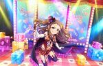 blush brown_hair dress idolmaster idolmaster_cinderella_girls_starlight_stage koseki_reina long_hair smile violet_eyes
