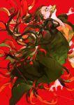 1girl bamboo black_hair black_kimono fingernails gag japanese_clothes kamado_nezuko kimetsu_no_yaiba kimono long_fingernails long_hair red_background sharp_fingernails solo starstruckdon veins violet_eyes