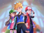 1girl 2boys absurdres blue_(pokemon) blurry blurry_background brown_hair hat highres jacket long_hair looking_at_viewer multiple_boys ookido_shigeru pointing pointing_at_viewer pokemon pokemon_(game) pokemon_masters red_(pokemon) short_shorts shorts smile spiky_hair wristband yuki56