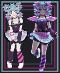 2girls alternate_hair_length alternate_hairstyle arm_warmers black_gloves blue_nails collarbone dual_persona ekkoberry feathered_wings fingerless_gloves gloves hatsune_miku leg_up leg_warmers looking_at_viewer mini_wings multiple_girls pink_wings shirt skirt standing standing_on_one_leg vocaloid wings