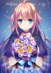1girl ahoge birthday blue_eyes blush bouquet choker copyright_request eyebrows_visible_through_hair flower hair_ornament happy_birthday highres holding holding_bouquet kusada_souta long_hair looking_at_viewer mizugame_mia pink_hair smile solo upper_body virtual_youtuber