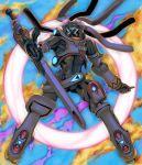 bullet floating glowing gunblade highres holding holding_bullet holding_sword holding_weapon king_gainer mecha overman_king_gainer pose sword weapon yasuda_akira