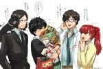 2girls 3boys amamiya_ren animal_on_shoulder beard carrying cat cellphone facial_hair flying_sweatdrops glasses hasegawa_zenkichi highres maruki_takuto morgana_(persona_5) multiple_boys multiple_girls necktie persona persona_5 persona_5_scramble:_the_phantom_strikers persona_5_the_royal phone simple_background smartphone sophia_(p5s) twitter_username white_background yoshizawa_kasumi