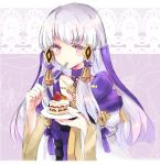 1girl cake closed_mouth eating fire_emblem fire_emblem:_three_houses food fork hair_ornament holding holding_fork holding_plate houkiri_nemu long_hair long_sleeves lysithea_von_ordelia pink_eyes plate solo upper_body white_hair