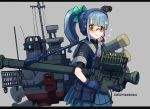 1girl :3 alternate_costume bangs black_border blue_gloves blue_skirt blunt_bangs border bow dated eyebrows_visible_through_hair gloves hair_bow headphones headset holding kantai_collection orange-tinted_eyewear pleated_skirt ponytail pouch rigging shikishima_fugen short_sleeves simple_background skirt smile solo sunglasses twitter_username undershirt weapon weapon_request yuubari_(kantai_collection)