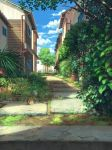 blue_sky building clouds cloudy_sky day drainpipe garden grass highres house leaf no_humans original outdoors pavement pippi_(pixiv_1922055) plant potted_plant scenery sky sunlight tree window