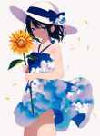 1girl achiki bangs bare_arms bare_shoulders black_hair blue_bow blue_eyes bow breasts cloud_print collarbone dress flower hat hat_bow holding holding_flower looking_at_viewer original petals print_dress short_hair simple_background sky_print sleeveless sleeveless_dress small_breasts smile solo standing sun_hat sunflower symbol_commentary wind