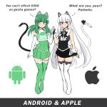 2girls android_(mascot) android_(os) animal_ears apple_inc. cat_ears cat_girl cat_tail green_hair highres long_hair merryweather multiple_girls original os-tan smile tail