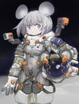1girl animal_ear_fluff animal_ears animal_ears_helmet astronaut astronaut_helmet blue_eyes blush breasts camera carrying_under_arm closed_mouth commentary covered_navel earth english_commentary fake_animal_ears gloves grey_hair headwear_removed helmet helmet_removed highres mouse_ears nemo_(leafnight) original reflection small_breasts solo space_helmet spacesuit sun white_gloves