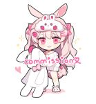 1girl animal_ear_fluff animal_ears animal_slippers bare_shoulders blush bow bunny_slippers chibi closed_mouth colored_shadow commission food_print full_body hair_bow hair_ornament heart long_hair moffle_(ayabi) off_shoulder original panties pink_bow pink_eyes pink_hair pink_panties print_bow print_panties rabbit_ears shadow slippers smile solo standing strawberry_panties strawberry_print stuffed_animal stuffed_bunny stuffed_toy sweater two_side_up underwear very_long_hair white_background white_footwear white_sweater x_hair_ornament