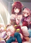 3girls alt atelier_(series) atelier_lydie_&_suelle atelier_sophie bare_arms bare_shoulders belt blush book closed_eyes collarbone commentary_request detached_collar drooling eyebrows_visible_through_hair finger_to_mouth grin hair_between_eyes hair_ribbon hand_on_another's_head hat headwear highres holding_clothes index_finger_raised indoors lap_pillow light_particles looking_at_another looking_at_viewer lydie_marlen multiple_girls neck_ribbon orange_eyes pillow pink_hair purple_neckwear red_eyes red_skirt redhead ribbon shirt short_hair short_sleeves siblings sisters sitting skirt sleeveless sleeveless_shirt smile sophie_neuenmuller strapless_shirt suelle_marlen thigh-highs twins white_shirt yellow_ribbon
