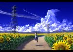 1girl absurdres aircraft airplane amemori_sayo black_footwear black_hair blue_skirt condensation_trail day field flower flower_field highres huge_filesize looking_back nemu_kotatsu nijisanji outdoors power_lines school_uniform serafuku shadow short_hair_with_long_locks skirt socks solo standing standing_on_one_leg sunflower virtual_youtuber