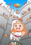 >_< /\/\/\ 6+girls :d ^_^ absurdres aircraft barefoot blonde_hair blush_stickers brown_eyes castle chibi clenched_hand climbing closed_eyes clouds costume dirigible doma_umaru door doorway hamster_costume hamster_hood highres himouto!_umaru-chan hood hoodie kobayashimannga komaru multiple_girls open_mouth outdoors parachute purple_shorts shorts skin_tight sleepy smile spring_onion tears toes tongue tree wand yawning