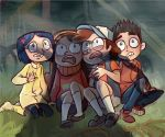 2boys 2girls black_hair blue_hair brother_and_sister brown_hair coraline coraline_jones crossover dipper_pines frown gravity_falls guillotin hair_ornament hairband hat mabel_pines multiple_boys multiple_girls norman_babcock open_mouth paranorman shadow siblings sitting